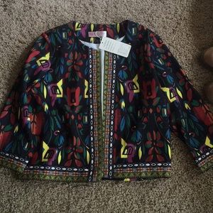 Colorful Embroidered Print Jacket